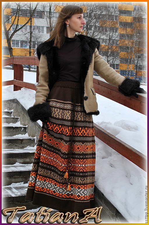 "Юбки ручной работы. Ярмарка Мастеров - ручная работа Вязаная юбка ""Pattern"". Handmade."