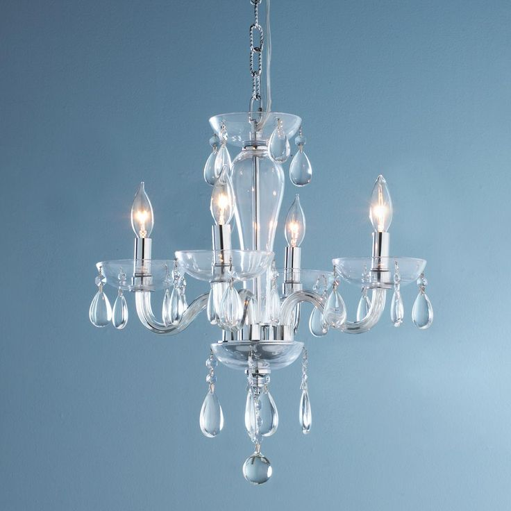 5 Light Clear Glass Mini Chandelier