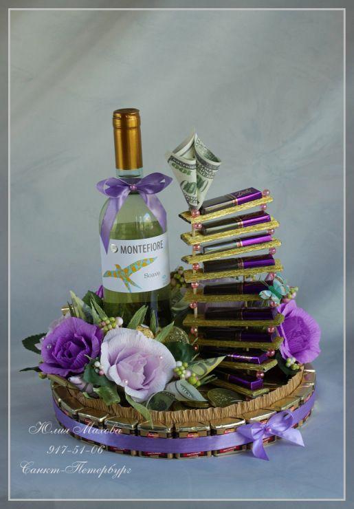 Gallery.ru / Карьерная лестница из конфет - Оформление чая, алкоголя…