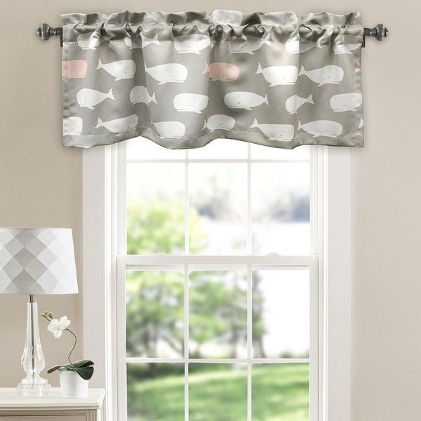 Half Moon Whale Room Darkening Window Valance (220 DKK) ❤ liked on Polyvore featuring home, home decor, window treatments, curtains, pink, pole pocket curtains, whale home decor, polyester curtains, pink curtains and pink valance
