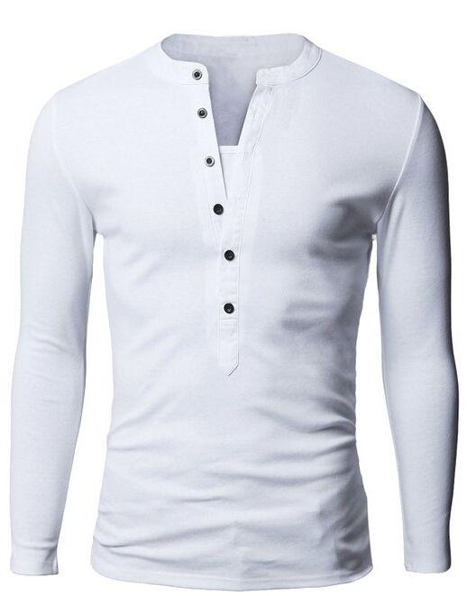 abc63005a8050 Encontrar Más Camisetas Información acerca de Hombre Camisetas de manga  larga 2015 otoño primavera nueva moda diseño botón Casual Slim Fit T…