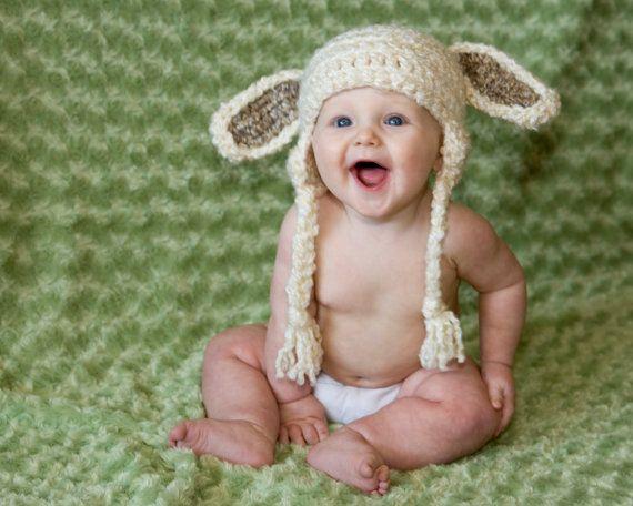 Baby Hat Crochet Lamb Baby Hat Costume Toboggan Beanie gifts Crochet Kids Child Toddler Easter. $22.00, via Etsy.