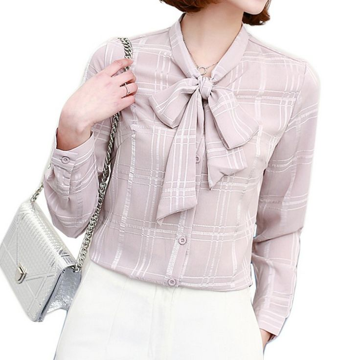 Women Bow Grid-Patterned Blouse Solid Slim-Fit Long Sleeves Chiffon Top Plus Size 3XL Office Lady Blouses Spring 2017 New Blusas #Affiliate