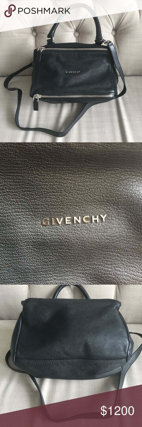 """Givenchy Pandora Black Leather Small Excellent condition! Small size Givenchy Pandora in black leather. Inside is clean and outside is in pristine condition. The """"H"""" has become slightly crooked from use but it's hard to tell. Comes with original strap (pretty long, not adjustable). Sorry, no box or dustbag. No trades. Send offers! NO FAKES. Givenchy Bags Satchels"""