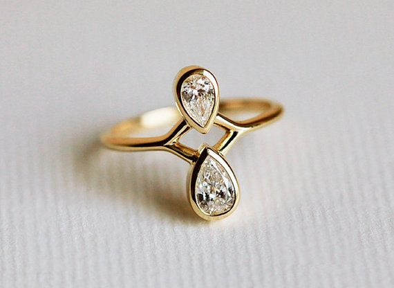 Pear Diamond Engagement Ring, Pear Cut Engagement Ring, 18k gold