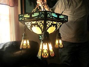 Antique Arts Crafts Slag Glass Ceiling Lamp Chandelier