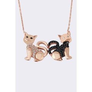 Çift kedi temalı, zirkon taş işlemeli ,925 ayar gümüş bayan kolyesi