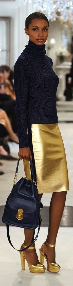 Ralph Lauren Collection Pre-Spring 2015: The Ricky Drawstring bag pairs effortlessly with metallic gold accents