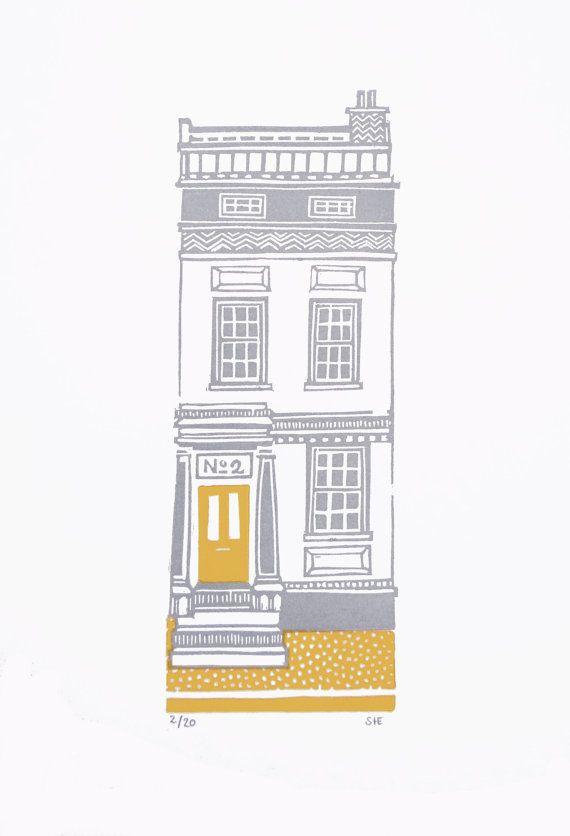 NEW House 2 - Grey & Mustard - Limited Edition Linocut via Etsy