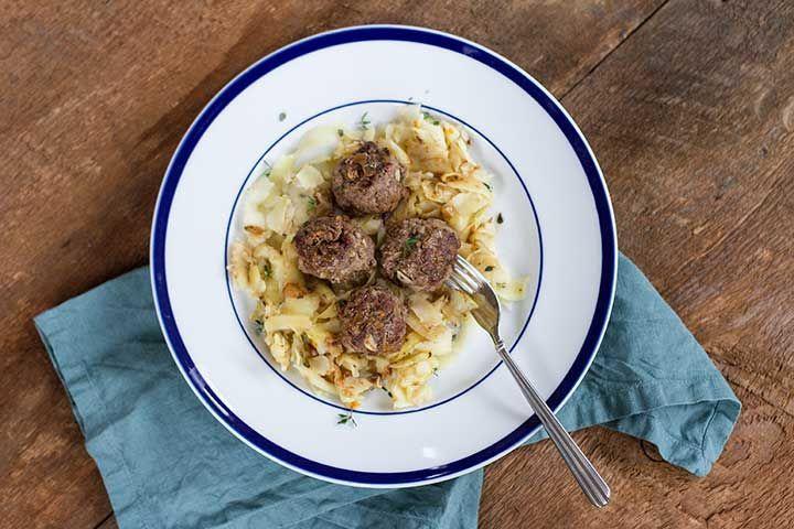 Citrus-Bison Meatballs with Crispy Sweet Potato Noodles | Autoimmune Paleo