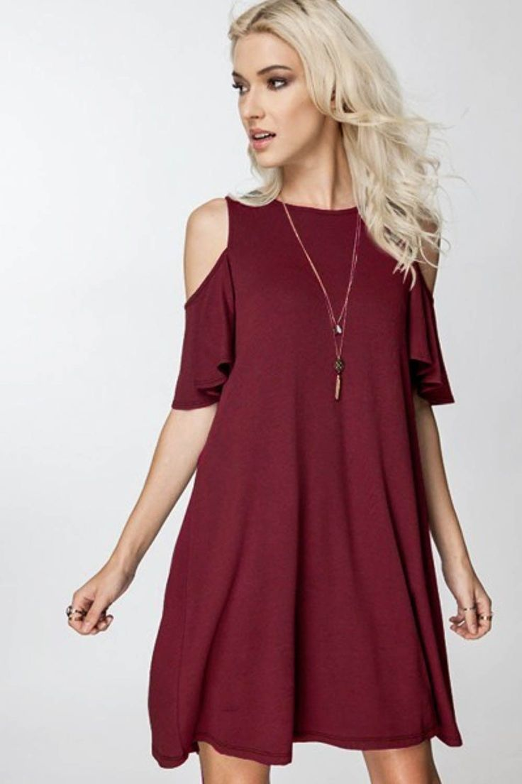 Our Best Selling Dress! Chic and flirty swing dress features a cold shoulder sleeve, beautiful ruffle sleeves and adorable swing fit. Make it casual with leggings and good or dress up with stiletto. C