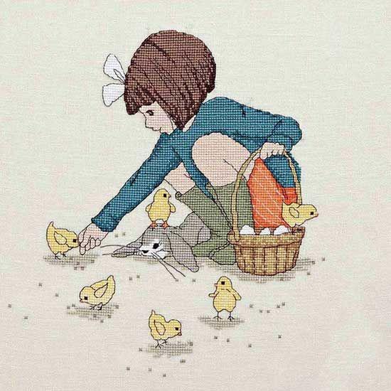 Belle Feeds The Chicks - #CrossStitch  Downloadable PDF Pattern in: http://belleandboo.com/cross-stitch-patterns/1388--feed-the-chicks-cross-stitch-pattern.html