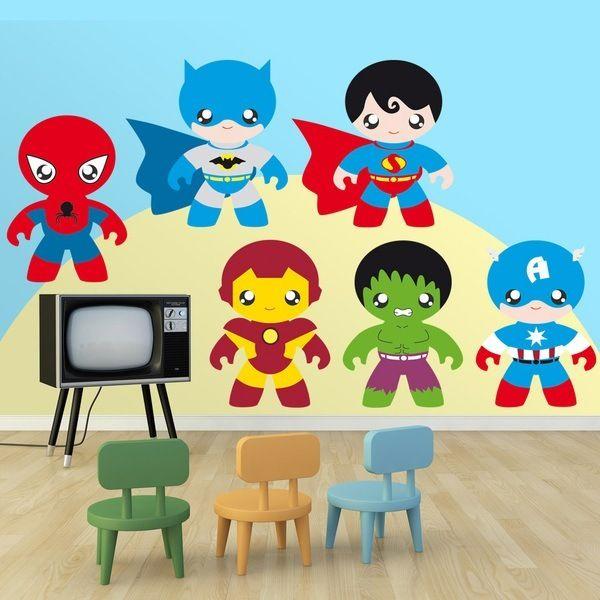 Kit eroi - Adesivi per bambini. Adesivi murali bambini a kit supereroi. #adesivimurali #decorazione #modelli #mosaico #eroi #supereroi #StickersMurali