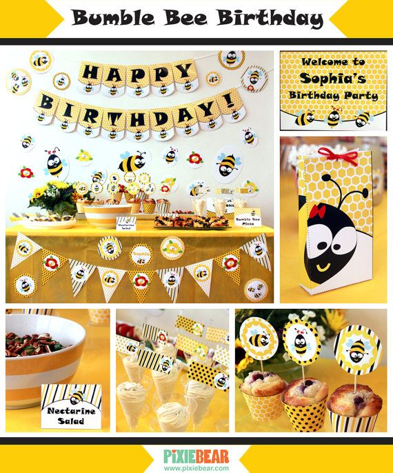 Bumble Bee Birthday Printables Party By PixieBearParty