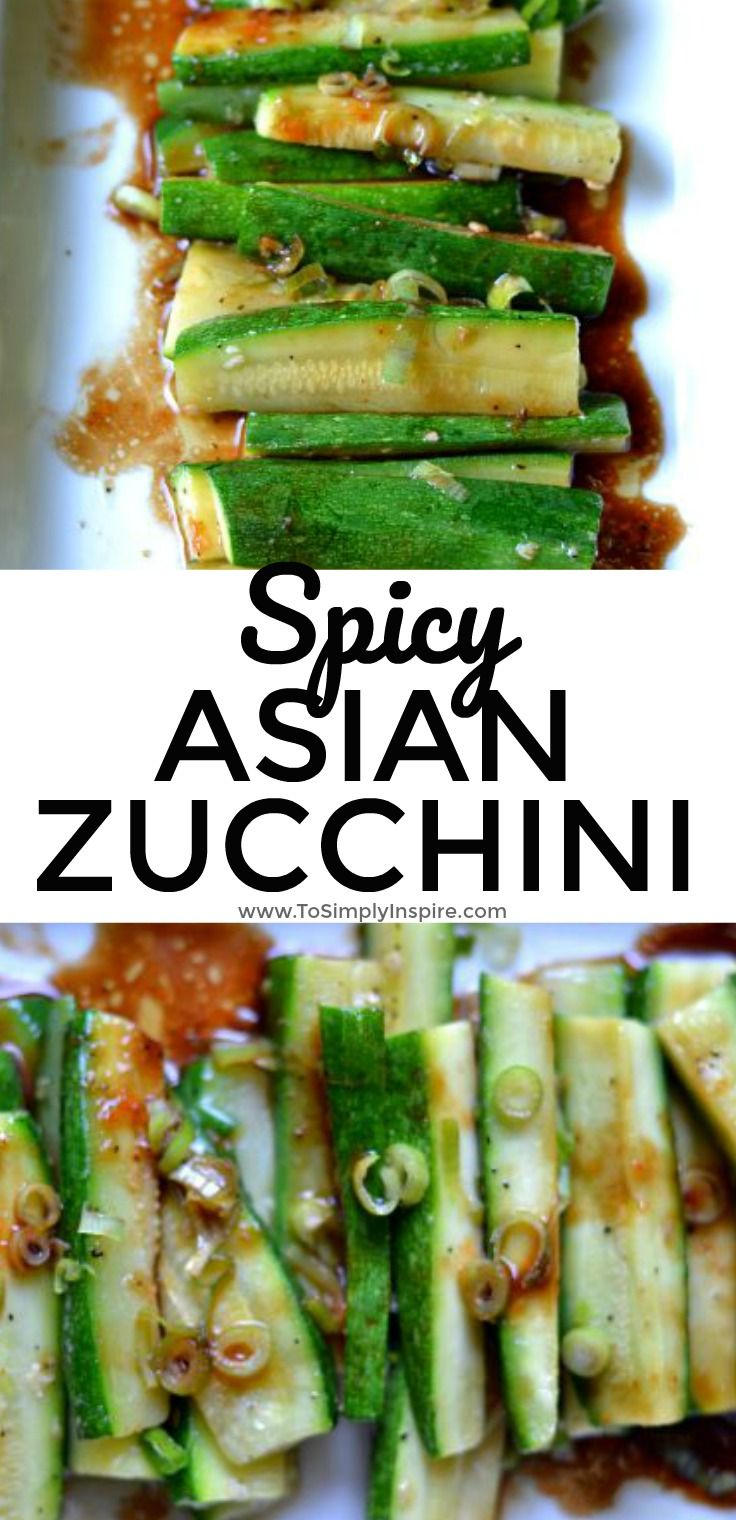 Simple but full of flavor, this Spicy Asian Zucchini is another wonderful, healthy side dish for you to try It's ready in under 10 minutes too! | www.ToSimplyinspire.com #zucchini #asian #quick #easy