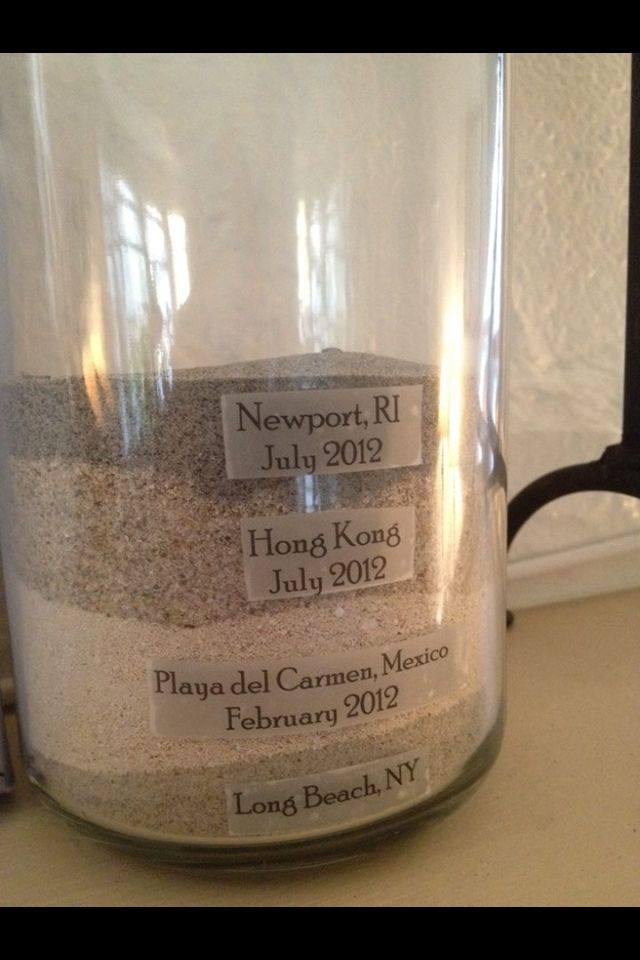 Collect sand from each trip to a beach/far off land.