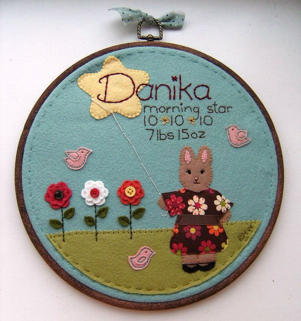 wow!  felt applique nursery hoop art