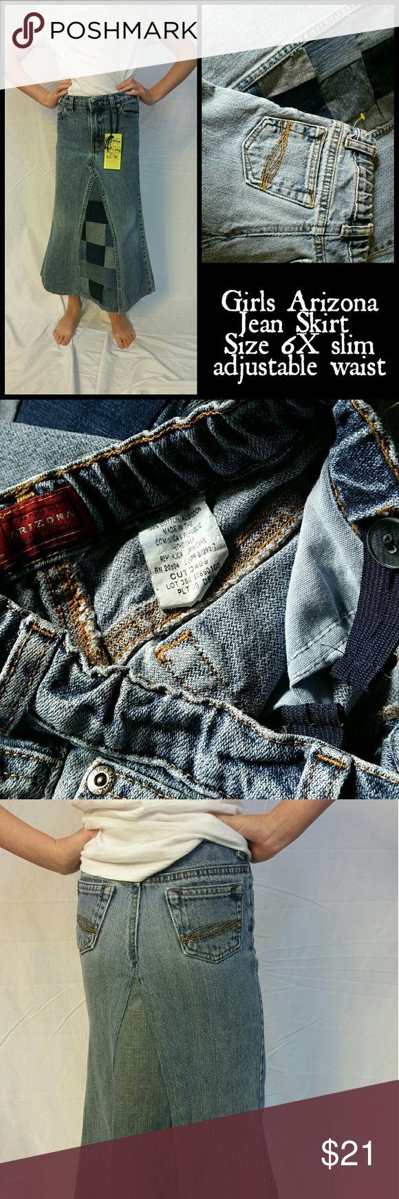 "Girls Arizona Jean Skirt. Size 6x slim. Modest Hard to find modest, no splits, long jean skirt. Arizona Brand Jeans Company. Size 6x with inner adjustable button/elastic waist. Measurements taken when lying flat: waist 11"" hips 12"" length 24 1/2"".  Artistic Multicolor square denim inlay. Arizona Jean Company Bottoms Skirts"