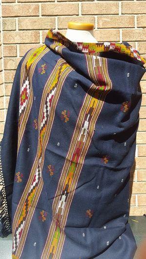 Merino Wool Kullu Shawl in Navy Blue