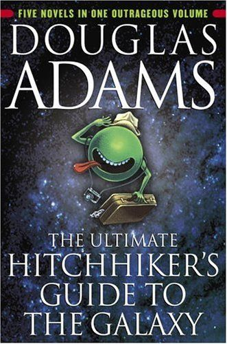 douglas adams...need i say more?    At last in paperback in one complete volume, here are the five classic novels from Douglas Adams's beloved Hitchiker series.    The Hitchhiker's Guide to the Galaxy  Seconds before the Earth is demolished for a galactic freeway, Arthur Dent is saved by Ford Prefect, a researcher for the revised Guide. Together they stick out their thumbs to the stars and begin a wild journey through time and space.    The Restaurant at the End of the Universe  Facing…