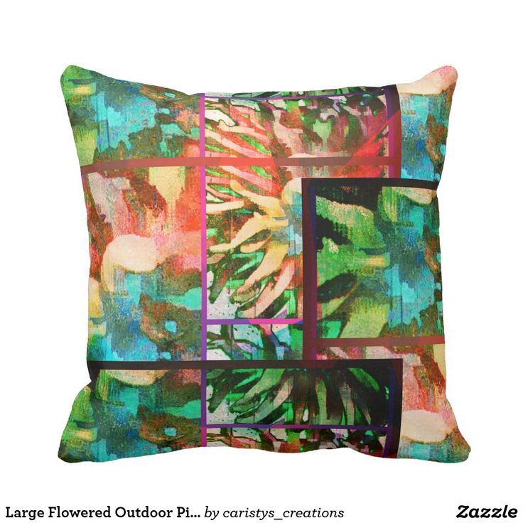 Large Flowered Outdoor Pillow