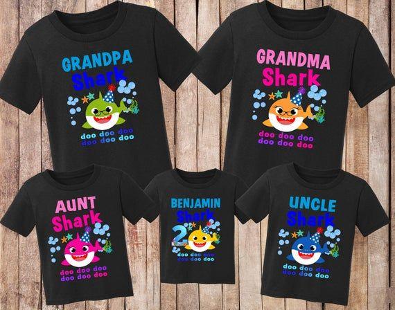Grandma Shark Matching Family Birthday Shirts Baby Shark Birthday Shirt Family Daddy Shark Mommy Shark Matching Family Shirts BOY