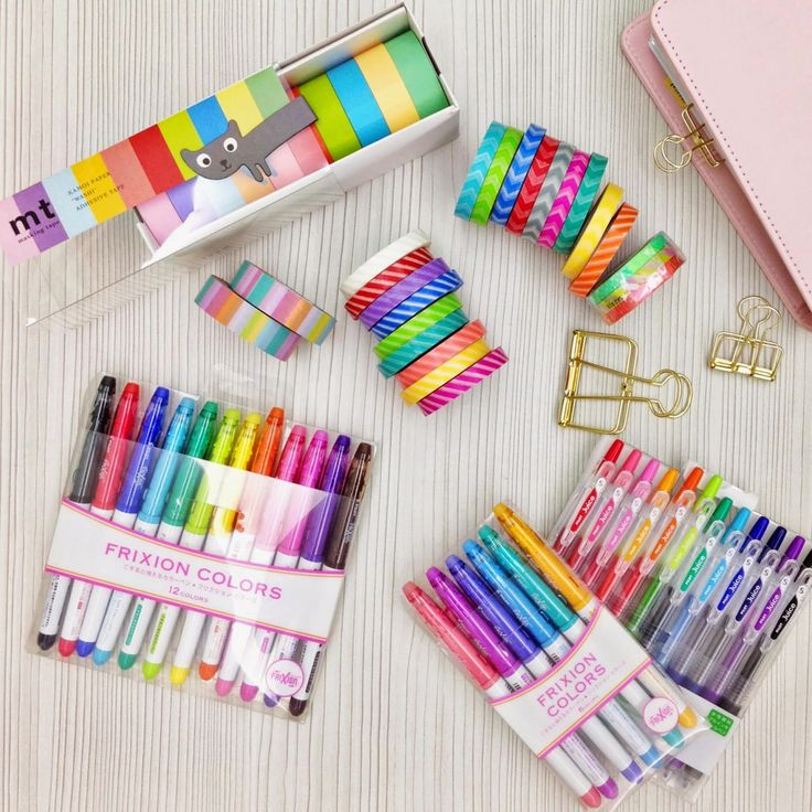 """""""Washi tapes, frixion pens, clips, planner stuff. {{{I am drooling at this picture}}} =P"""""""