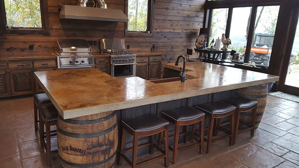 Stone-Crete Artistry Whiskey Kitchen uses Jack Daniels barrels