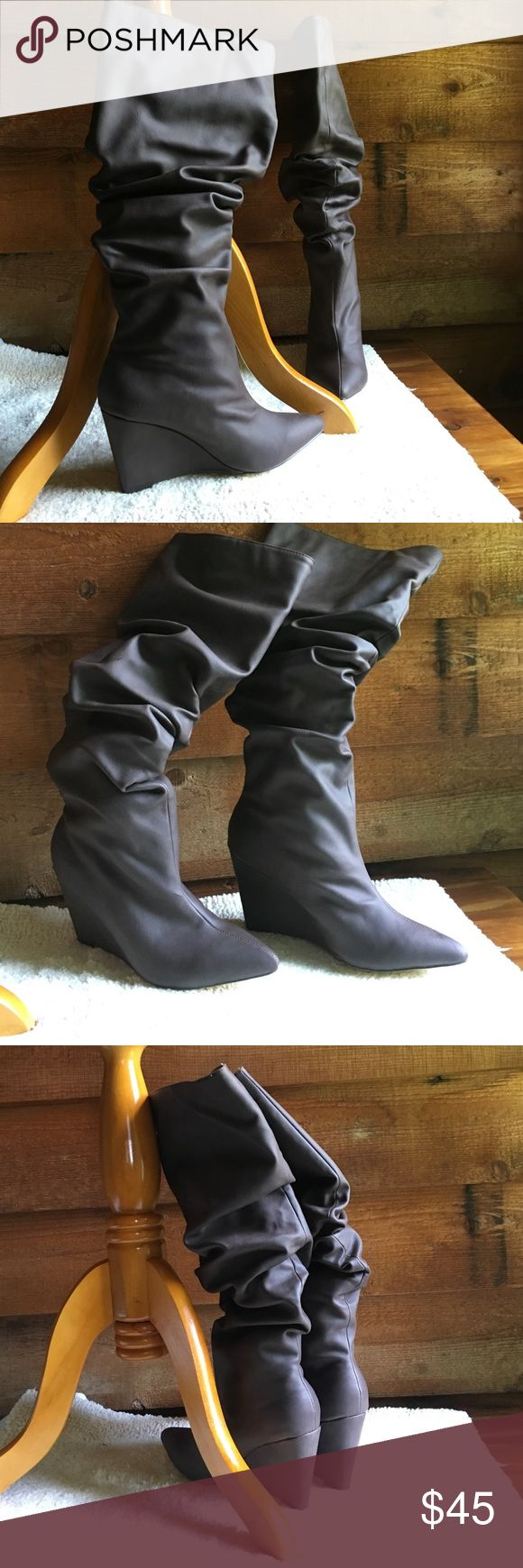 Michael Antonio brown boots . Michael Antonio brown slouchy wedge boots . New with box . Heel height 3 3/4 , platform 1/4, shaft height 18 1/4, shaft width 17 1/2 . Man made / textile . Faux leather . Michael Antonio Shoes Over the Knee Boots