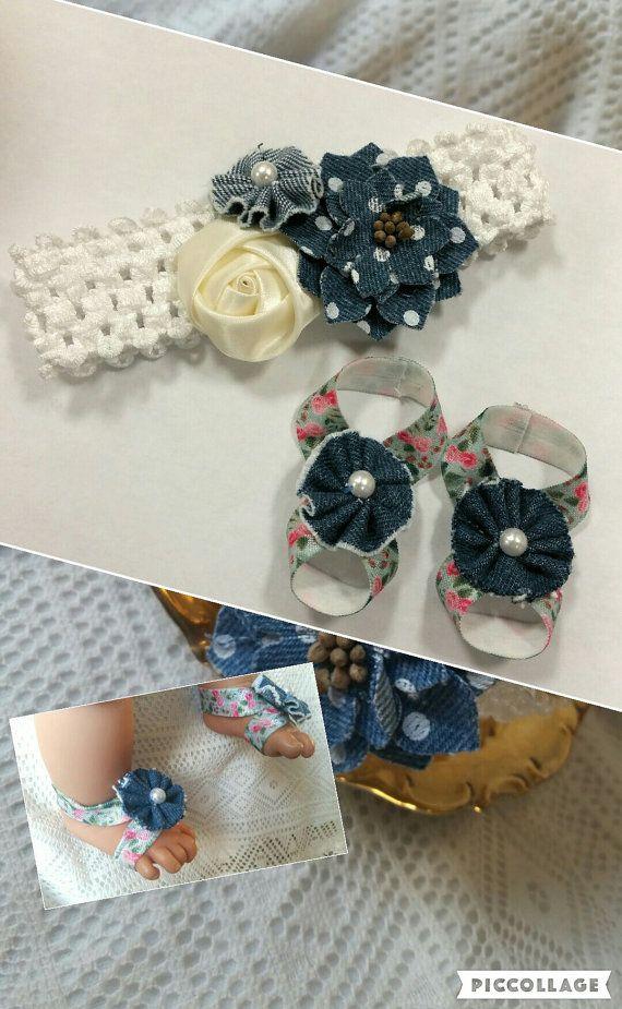 Sandalias Descalzas bebé Jean azul con diadema a juego