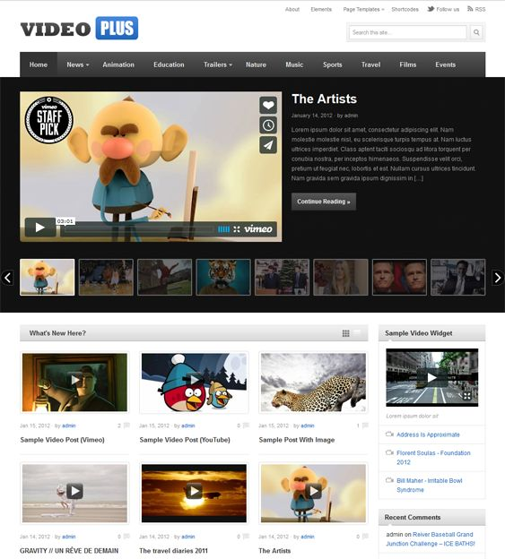 This video WordPress theme offers SEO optimization, Flickr and Twitter widgets, easy customization, cross-browser compatibility, custom page templates, ad management, a featured post/video slider, and more.