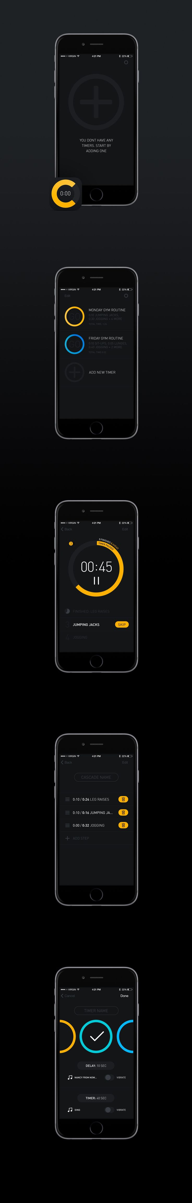 Design #104 di Marzie | Create modern, flat UI design for timer app