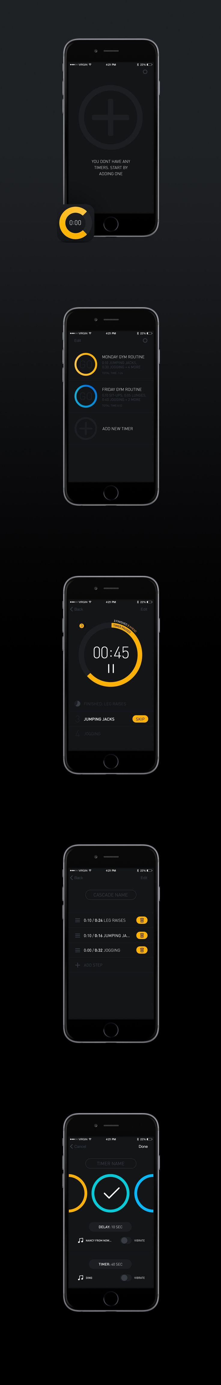 Design #104 di Marzie | Create modern, flat UI design for timer app