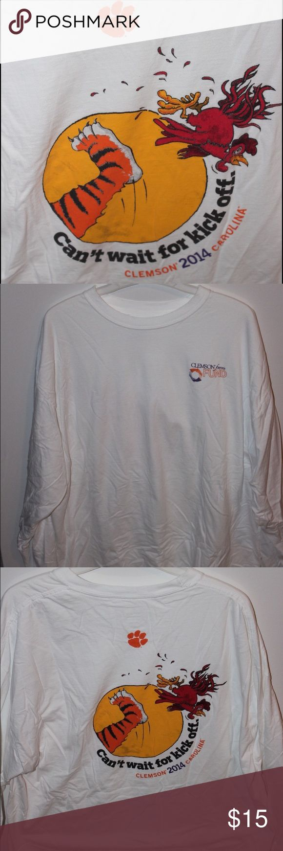Clemson vs. USC t-shirt White long-sleeved t-shirt with Clemson vs. USC theme; ONLY WORN ONCE Tops Tees - Short Sleeve