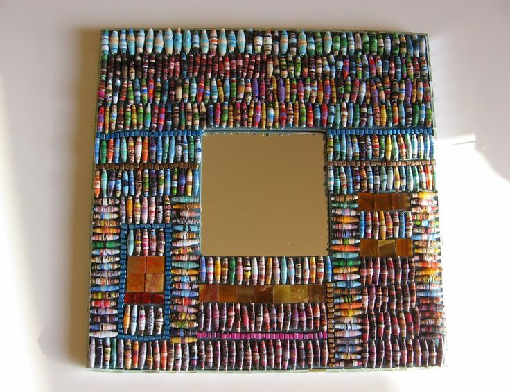 mirror with recycled paper beads