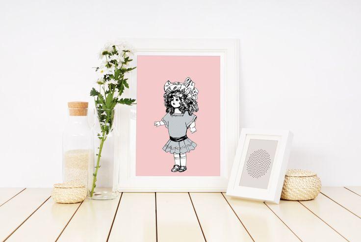 Vintage Dolly, Baby girl, Vintage Children, Vintage Illustration, Nursery Art, Printable, Pink pastel and White Nursery, Handmade Item. by FREDandMIMI on Etsy https://www.etsy.com/au/listing/512061109/vintage-dolly-baby-girl-vintage-children