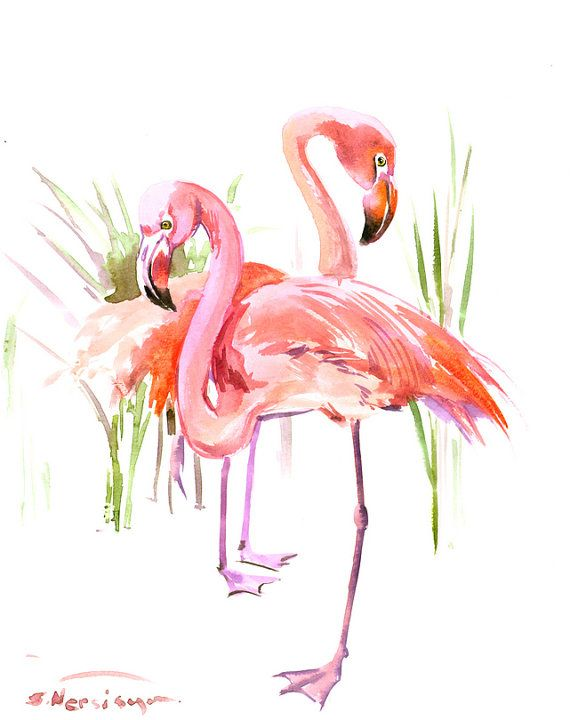 Two Flamingos, Original watercolor painting, 14 x 11 in, flamingo lover art, flamingo painting, pink flamingos