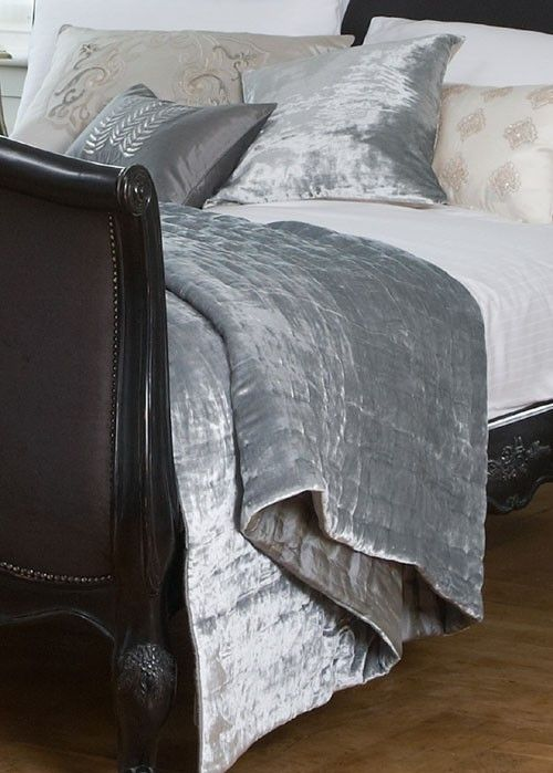 Luxurious Bedding: Shesha Silver Blue Throw - Sweetpea & Willow, London