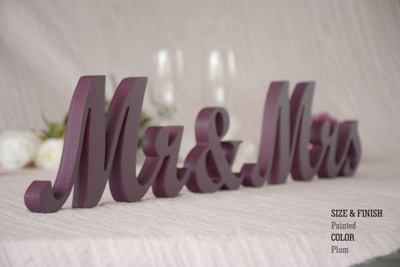 Plum Wedding Decorations, Plum Sign, Plum Centerpieces, Plum, MR & MRS Plum