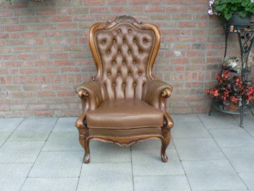 notenhouten fauteuil, cognac kleur, Leer, leder