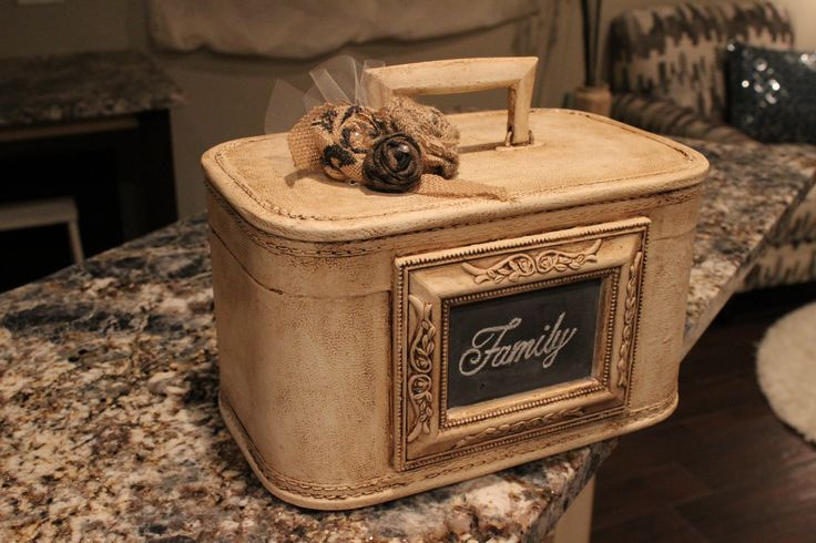 Chalk painted vintage luggage + goodwill frame