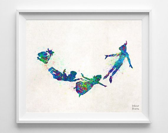 Peter Pan Disney Art Watercolor Peter Poster by InkistPrints, $11.95 - Shipping Worldwide! [Click Photo for Details]