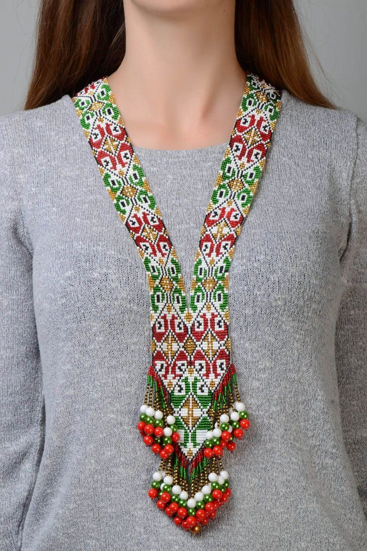 Ethnic Style Long Beaded Necklace green and red by svetiknekleva