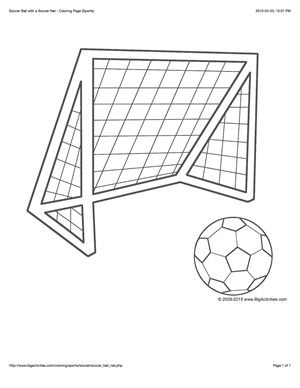 Sports coloring page with a picture of a soccer ball and net to color