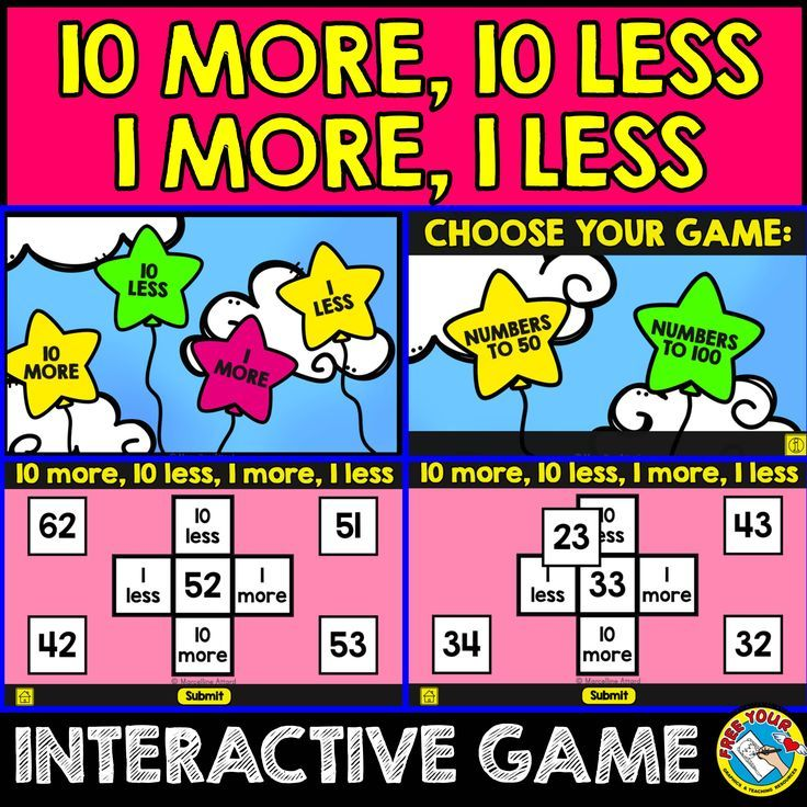 A fun, digital interactive game for children to practice 10 more, 10 less, 1 more and 1 less. This game is designed to be used on a computer or interactive whiteboard. After kids drag the 4 numbers onto the correct box, they click on 'Submit' button to check if they got the answers correct.   The game menu is divided in 2 parts: numbers to 50 (32 movable numbers on 8 slides) numbers to 100 (52 movable numbers on 13 slides)