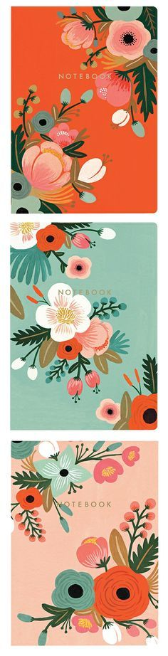 Rifle Paper Co Botanical Notebooks - love the colour palette #riflepaperco #floral #botanical | Find fun fabrics for your next project www.myfabricdesigns.com