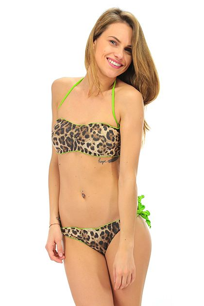 4giveness - Costumi da bagno - Abbigliamento - Costume da bagno a fascia imbottito con stampa leopardata e slip brasiliano.La nostra modella indossa la taglia /EU S.  - LEOPARD - € 45.00