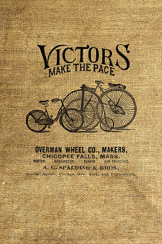 INSTANT DOWNLOAD - Vintage Bicycle Ad - Download and Print Image Transfer Digital Sheet by Room29 Sheet no. 291 via Etsy