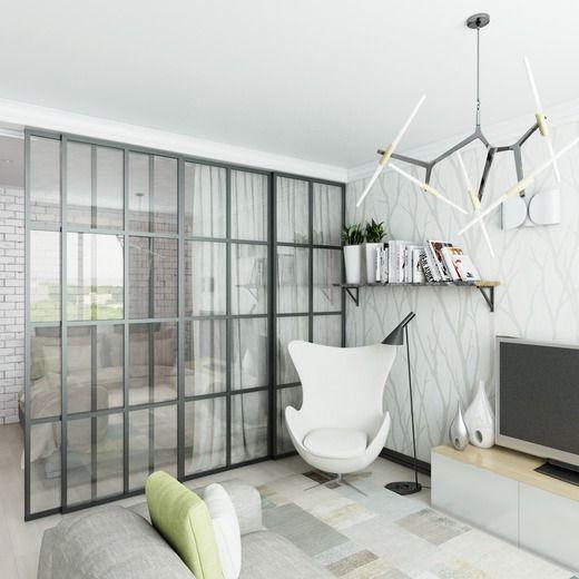 Однокомнатная квартира в скандинавском стиле. Гостиная