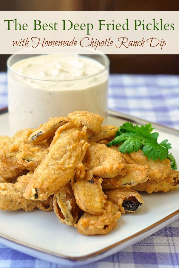 The Best Deep Fried Pickles with Homemade Chipotle Ranch Dip - These deep fried pickles were inspired by those found at the Penguin Diner in Charlotte, NC, with a warmly spiced, crispy batter & a creamy chipotle ranch dip.